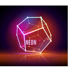 geometric 3d neon object vector image
