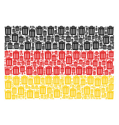 Germany flag pattern of trash bin icons vector