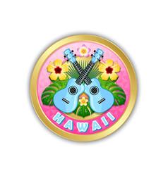 golden hawaii badge in polynesian style vector image