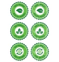Green organic natural eco retro labels vector image