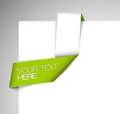 green white corner paper ribbon vector image