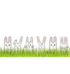 happy easter banner with bunny faces and grass vector image