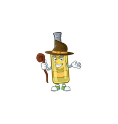 Happy face witch champagne yellow bottle cartoon vector