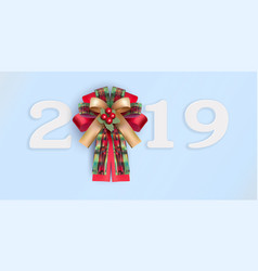 Happy new year 2019 with realistic ribbon on vector