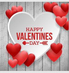 happy valentines day with white and red heart vector image