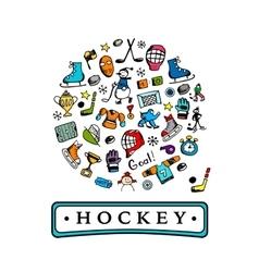 Hockey banner sketch for your design vector