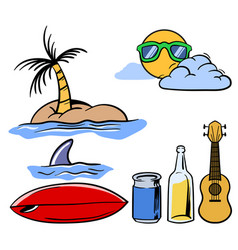 holiday beach theme stuff set vector image