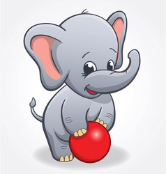 Infant elephant playing with red ball vector