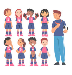 kid soccer players team with coach trainer group vector image