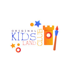 Kids land club logo original colorful creative vector