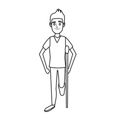 Man character in crutches disability bandage vector