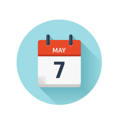 May 7 flat daily calendar icon date and vector