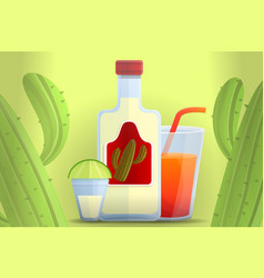 mexican tequila concept banner cartoon style vector image