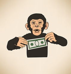 Monkey with dollar vector image