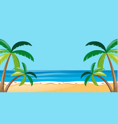 Nature scene with trees on the beach vector