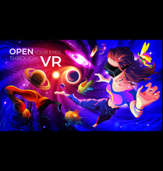 open your eyes through vr vector image