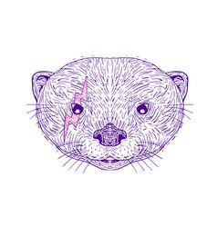 otter head lightning bolt drawing vector image