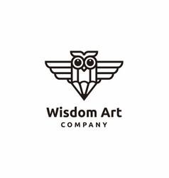 owl with pen logo in modern logo design vector image
