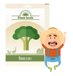 Pack of broccoli seeds icon vector