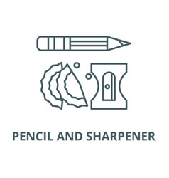 pencil and sharpener line icon linear vector image