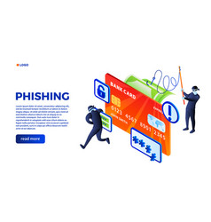 Phishing concept background isometric style vector