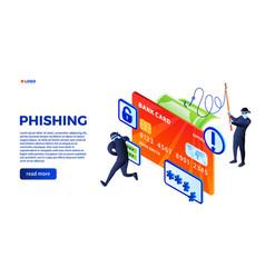 phishing concept background isometric style vector image