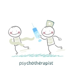 psychotherapist with a syringe catching up with vector image