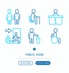 public signs thin line icons set vector image