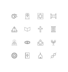 religion linear thin icons set outlined simple vector image