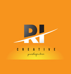 ri r i letter modern logo design with yellow vector image