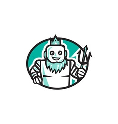 Robotic Poseidon Holding Trident Oval Retro vector
