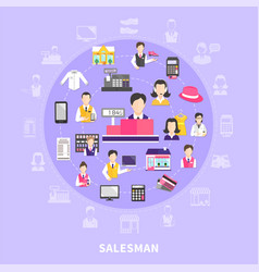 Salesman icons round composition vector