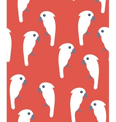 Seamless pattern with white cockatoo birds on red vector image
