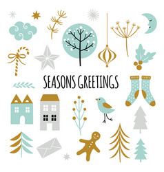 season greetings set vector image