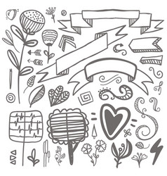 set hand-drawn decorative elements wedding vector image