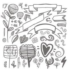 set hand-drawn decorative elements wedding vector image