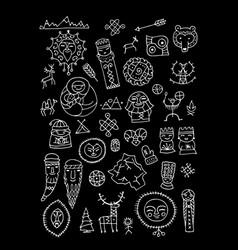Set of ethnic design elements vector