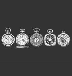 set pocket watches vector image