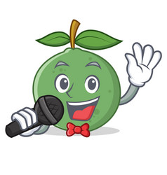 Singing guava mascot cartoon style vector
