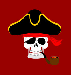 Skull pirate portrait in hat eye patch filibuster vector
