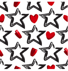star background with 3d hearts vector image