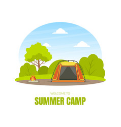 summer camp tourist tent on summer forest vector image