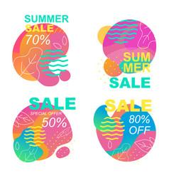 Summer sales cutout cards set inviting to shop vector