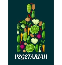 Vegetarian symbol with fresh vegetables vector