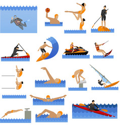 Water sport icons set with people swimming vector