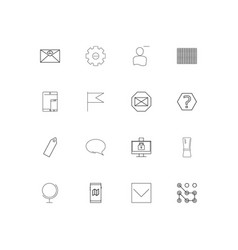 web linear thin icons set outlined simple icons vector image