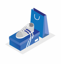 White sport shoes with blue box and shopping bag vector