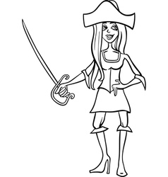 Woman pirate cartoon for coloring book vector