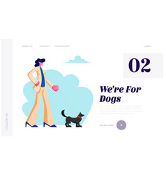 woman walking with dog spending time with pet vector image