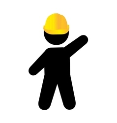 worker with helmet isolated flat design vector image